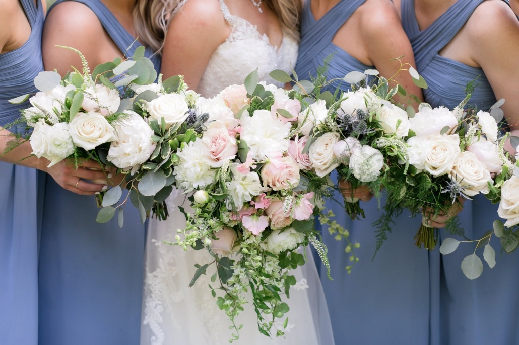 Wedding party floral arrangements in Coralville, Iowa