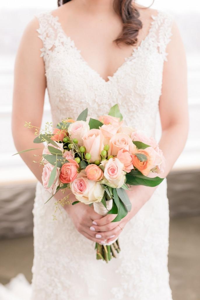 Beautiful flower arrangement with bride