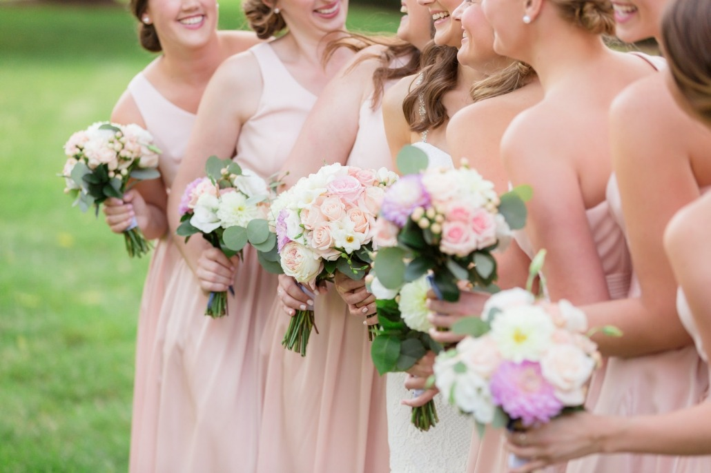 Wedding party floral arrangements in Iowa City, Iowa
